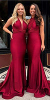 Burgundy Simple Long Bridesmaid prom Dresses  cg7345