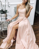 long pale pink prom dresses open back evening gown  cg7374