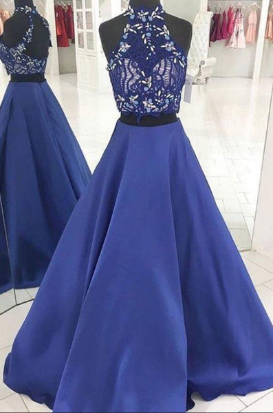 Charming Prom Dress, Elegant Two Piece Appliques Prom Dresses, Long Evening Party Dress  cg7377