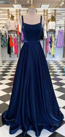 Straps Navy Long A-line Simple Long Prom Dresses, 2020 Prom Dresses, New Arrival Cheap Prom Dresses   cg7387