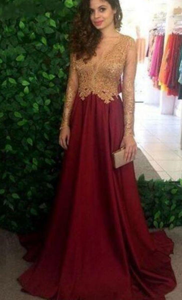 Burgundy Sheer Long Sleeves Prom Dresses Long Sleeves Lace Appliques Top Long Evening Gowns  cg7393