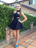 Black Halter Homecoming Dress,Mini Dress,Little Black Dress,Cheap Homecoming Dress  cg7400