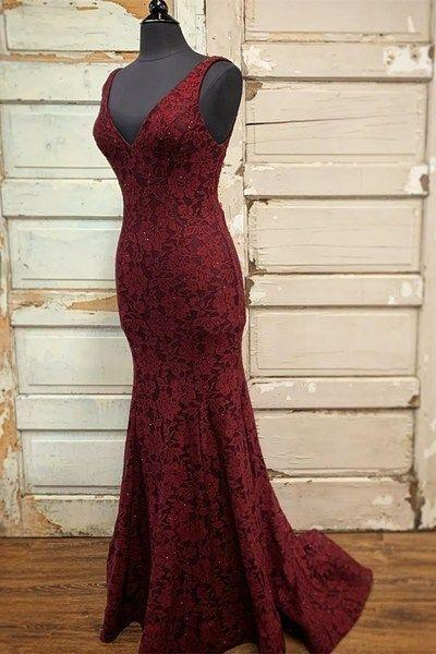 Mermaid Burgundy Lace Long Formal prom Gown  cg7402