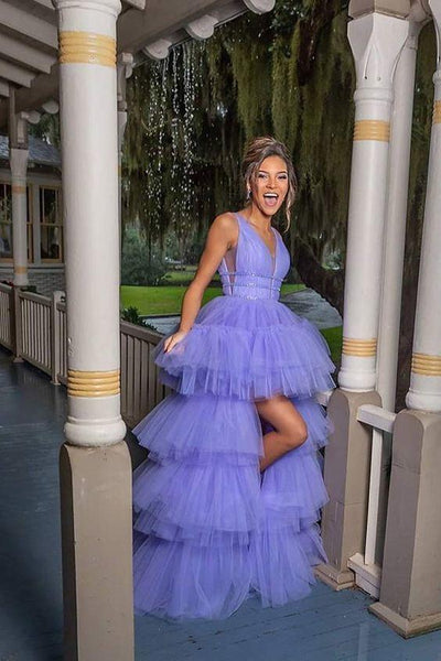 Lavender High Low Prom Dress, Prom Gowns  cg7414