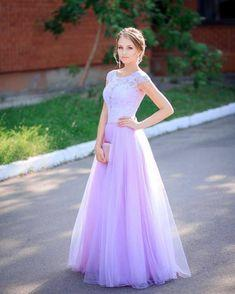Purple Prom Dress,Tulle Prom Gown, Beading Prom Dress, Lace Prom Gown   cg7424