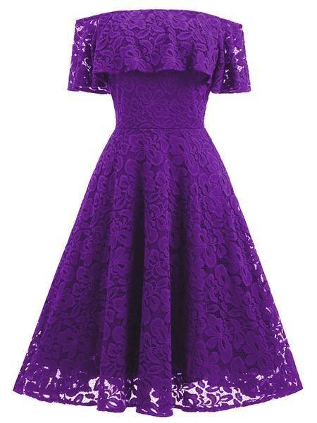 Lace Women's Off-The-Shoulder Sleeveless Lace homecoming Dress   cg7439