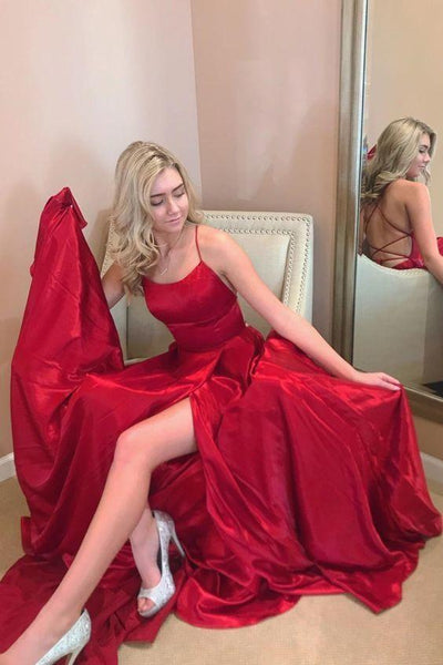 2020 red long prom dress with spaghetti straps, lace up back and side slit  cg7494