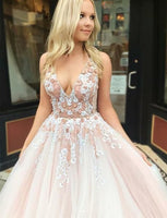 Pink v neck tulle lace long prom dress, pink tulle evening dress B458