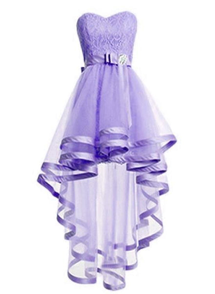 Adorable Light Purple Tulle with Lace Homecoming Dress, High Low Prom Dress KS5238