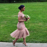 Charming Off Shoulder Tulle Pink Mermaid Bridesmaid Dress,Party Gowns T1638