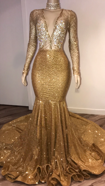 Black Girl Prom Dresses Open Back Gold Prom Dresses Cheap with Choker | Long Sleeve Mermaid V-neck Sexy Evening Gowns with Crystals BC3988