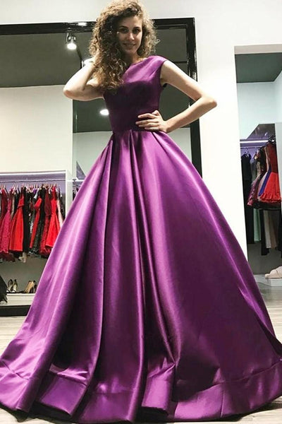Cap Sleeves Satin Purple Prom Dress Gown Backless KS1029