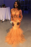 Black Girl Prom Dress Long Sleeve Lace Appliques Orange Prom Dress Cheap Mermaid Tulle Sheer Tulle Prom Dress Online B0484
