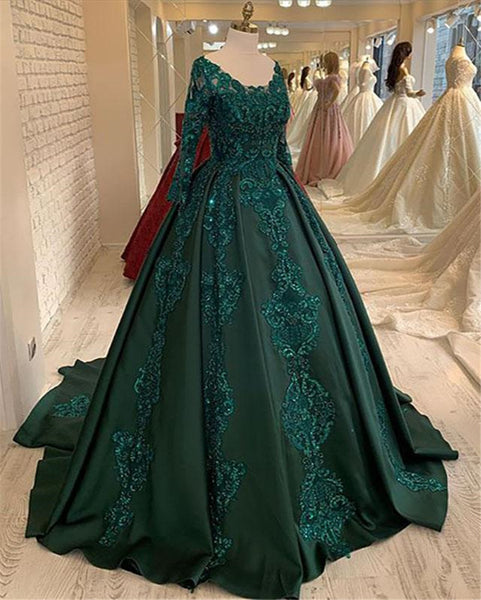 Emerald Green Prom Dresses Long Sleeves Green Ball Gown Prom Dress E411