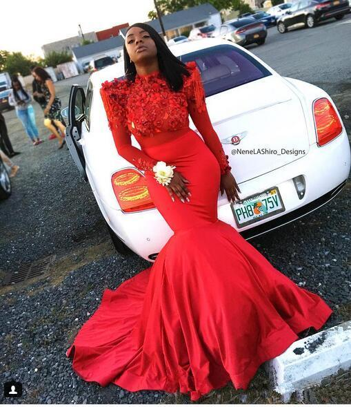 Black Girl Prom Dresses Mermaid Beading Appliques Red Prom Dress | Lace Long Sleeve Cheap Evening Gowns JY0084