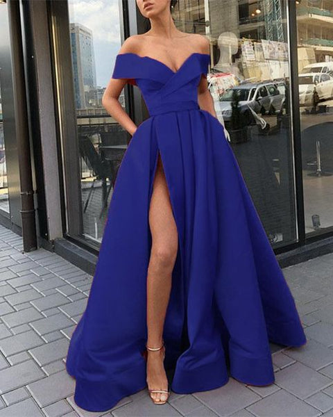 royal blue off the shoulder satin long prom dresses new evening dresses 0140