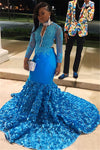 Black Girl Prom Dress Blue Sheer Tulle Backless Mermaid Prom Gown | Glamorous Lone-Sleeves Flower Applique Prom Dresses D0321
