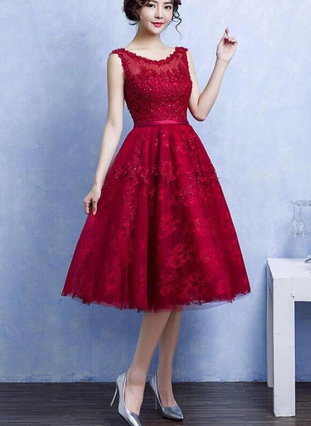 Elegant Tea Length Wine Red Homecoming Dress, Lace Party Dress KS3367