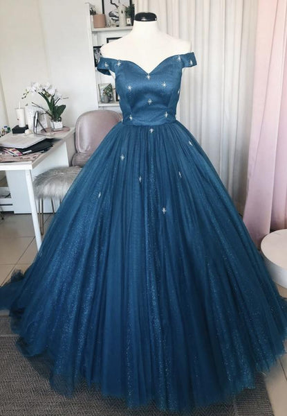 Blue tulle long prom gown blue formal dress KS4164