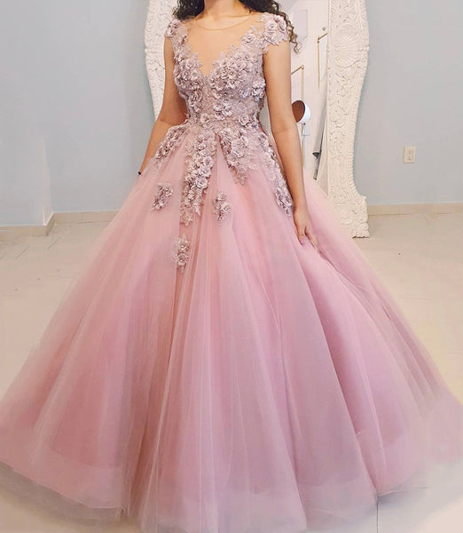 Pink tulle lace long ball gown dress formal dress KS6972