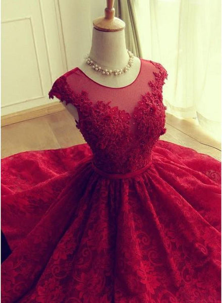 Gorgeous Dark Red Lace Homecoming Dress ,Scoop Short Prom Dress KS6427