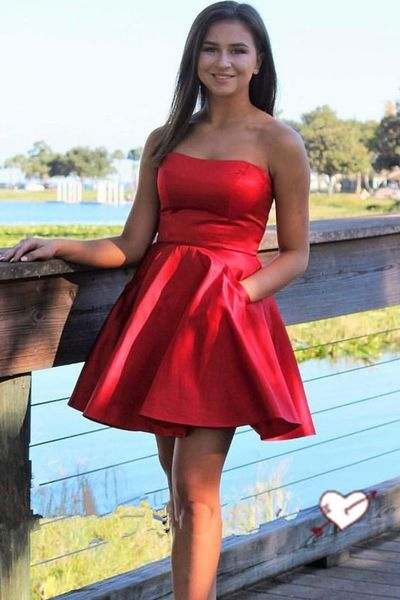 P1308,Strapess Short Homecoming Dresses,Red Homecoming Dresses with Pockets
