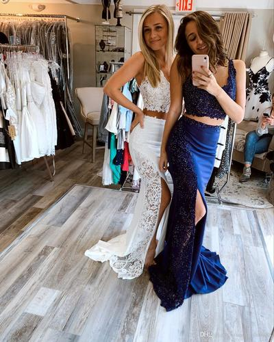 P1285,Two piece prom dresses,mermaid long prom dresses ,white prom dresses with slit,royal blue prom dresses