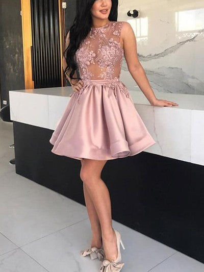 P1307,Pink Homecoming Dresses,See Through Applique Prom Dresses,Short Party Dresses