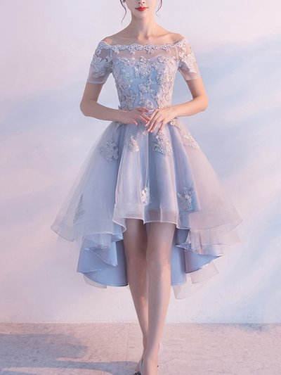 P1267,Light Blue Off the Shoulder Lace Homecoming Dresses,Short High Low Prom Hoco Dress