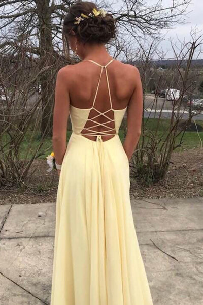 D1052,Halter Long Prom Dress with Side Slit,Pastel Yellow Long Evening Party Dresses