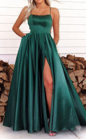 simple green long prom dresses, a line evening party dresses, cheap prom gown for girls