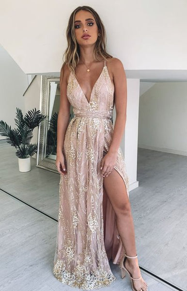 P1253,Spaghetti Straps Gold Pink Prom Dresses,V-Neck A-line Lace Evening Dress