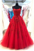 D1053,Spaghetti Straps Red A-line Cheap Evening Prom Dresses, Evening Party Prom Dresses