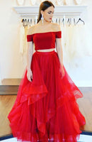 D1069,Off Shoulder Red Tulle Long Prom Dress Custom Made Prom Party Gowns Custom Made Women Evening Party Gowns