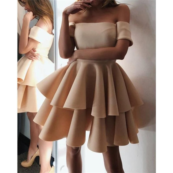 Newest Simple A-line Off-shoulder Short Sleeves Homecoming Dresses With Ruffles m004