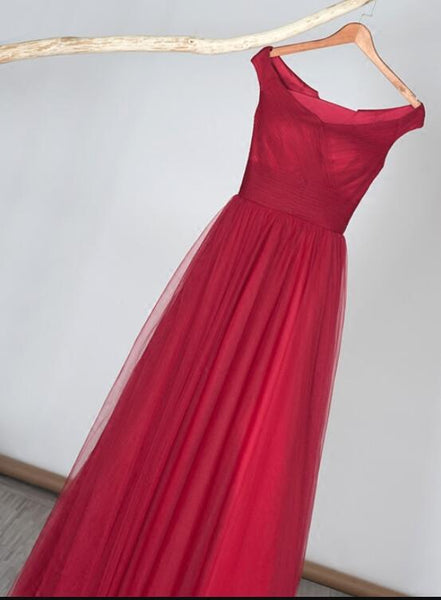 Elegant Red Off the Shoulder Long Lace-up Bridesmaid Dress, Red Prom Dress KS6414