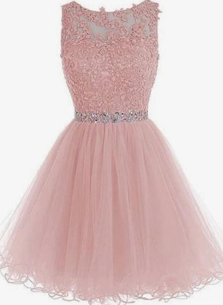 Lace Short Pink Prom Dresses, Pink Homecoming Dresses, Short Pink Formal Dresses KS6417