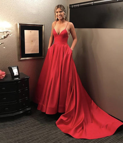 Red v neck satin long prom dress B203