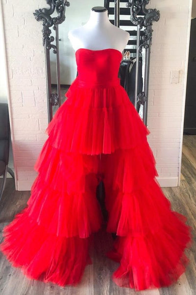 Strapless High Low Tiered Red Tulle Prom Dress KS6482