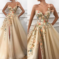 Romantic Flowers Embroidery Slit Prom Dresses  Long Prom Dress 0169