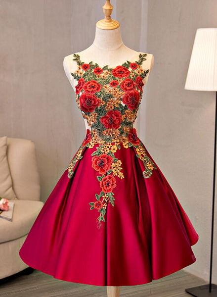 Beautiful Red Lace Applique Flower Homecoming Dress, Red Prom Dress KS5930