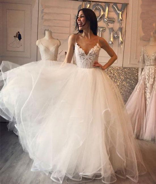 White v neck tulle lace long prom dress, white tulle wedding dress KS4858