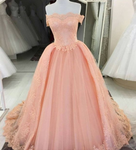 Off Shoulder Ball Gown Tulle Prom Dresses Lace Appliques Women Prom Dresses,Evening Dress,KS1572