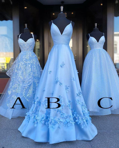 D1038,Light Blue Prom Dresses,Lace Flowers Evening Gown,A line Party Evening Dress