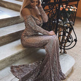 D1370,Mermaid Evening Dress with Sleeves, Sequin Prom Dress