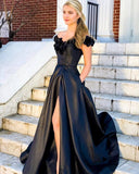 D1315,Black Satin A Line Prom Dress Off Shoulder V Neck 3D Flowers High Split Formal Evening Dresses