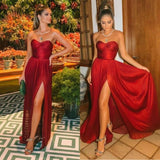 1394,Sexy Burgundy Strapless Side-Slit A-Line Long Prom Dresses