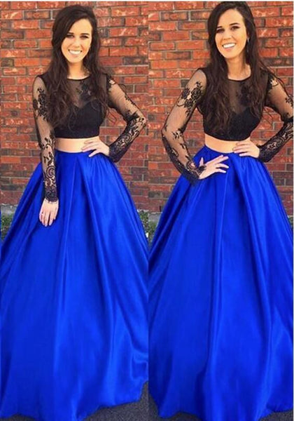 Elegant Long Sleeve Two Piece Royal Blue Prom Dress, Satin Black Lace Evening Dress T1044