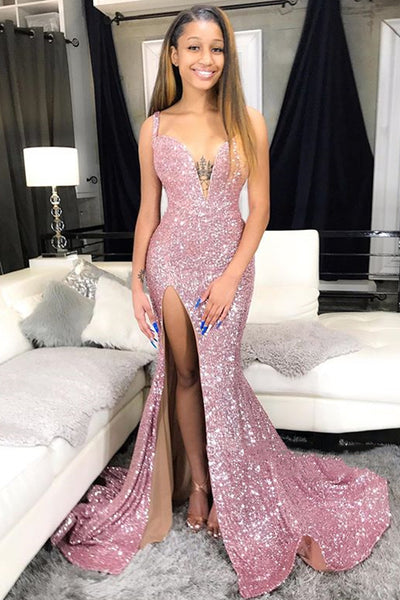 Black Girl Prom Dresses Sequins Pink Prom Dresses Mermaid Sexy Slit Formal Evening Gowns Long N0225