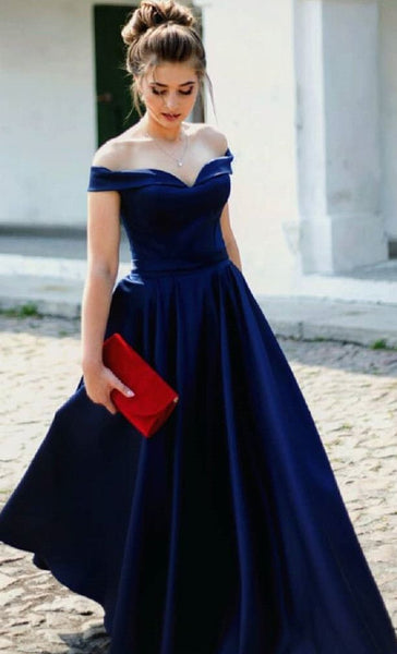 D1256,Off the Shoulder Prom Dresses,Royal Blue Prom Dress,A line Evening Gown with Slit